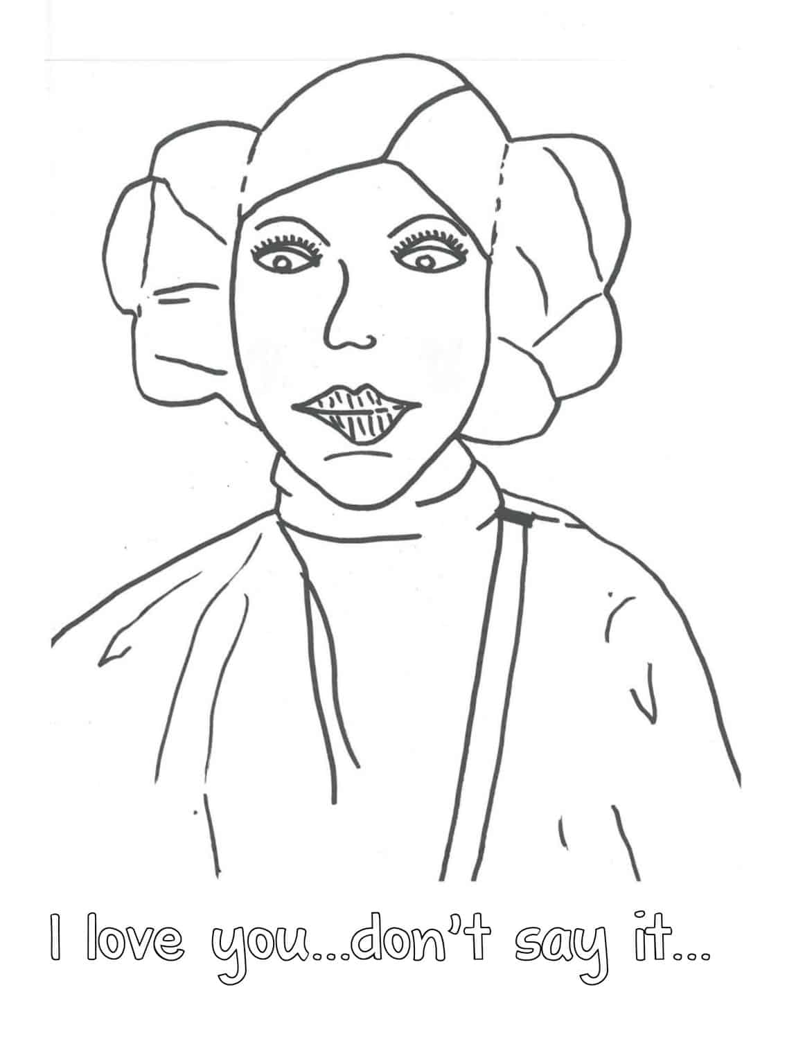 free printable princess leia coloring pafe