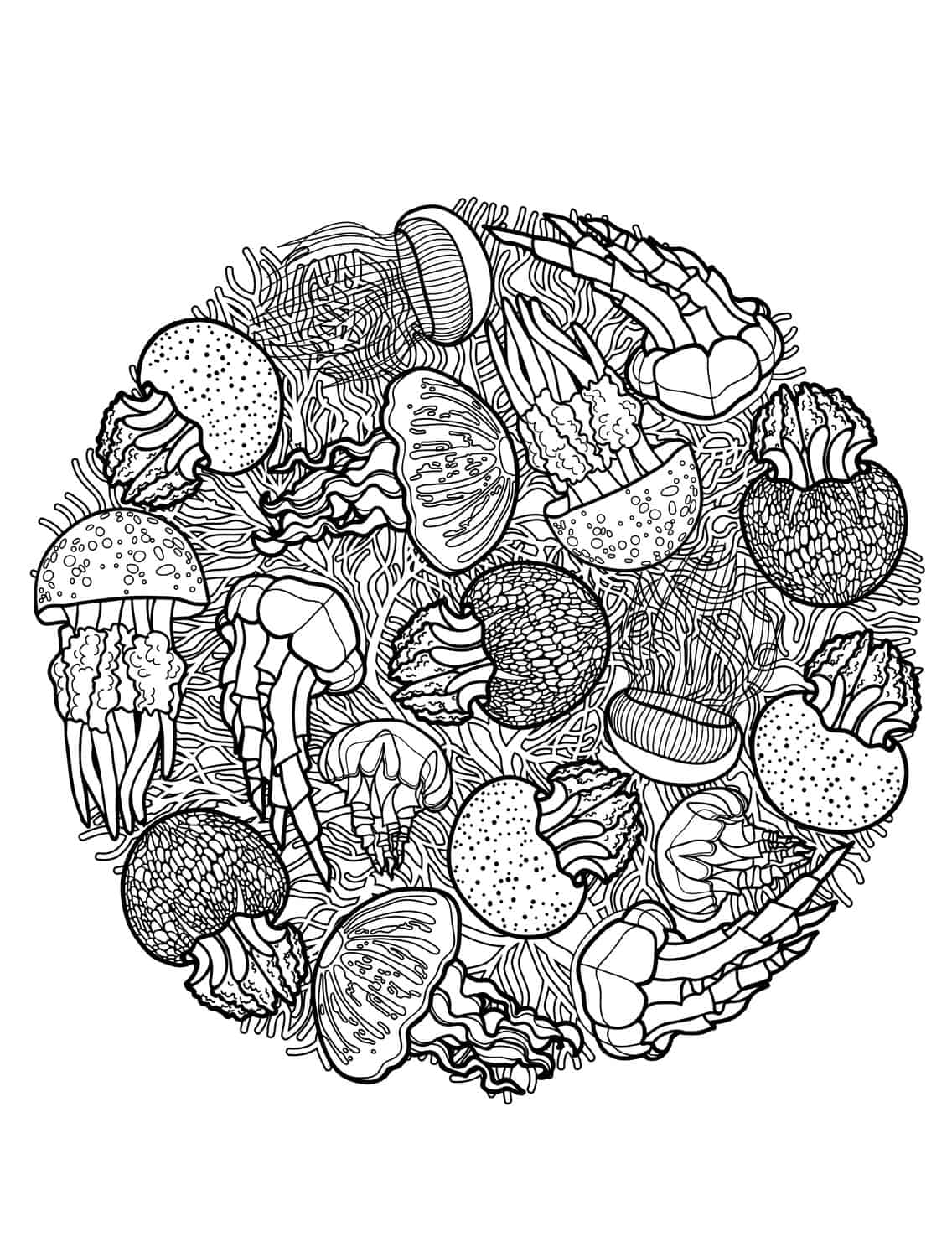 free printable sea creatures adult coloring pages pic