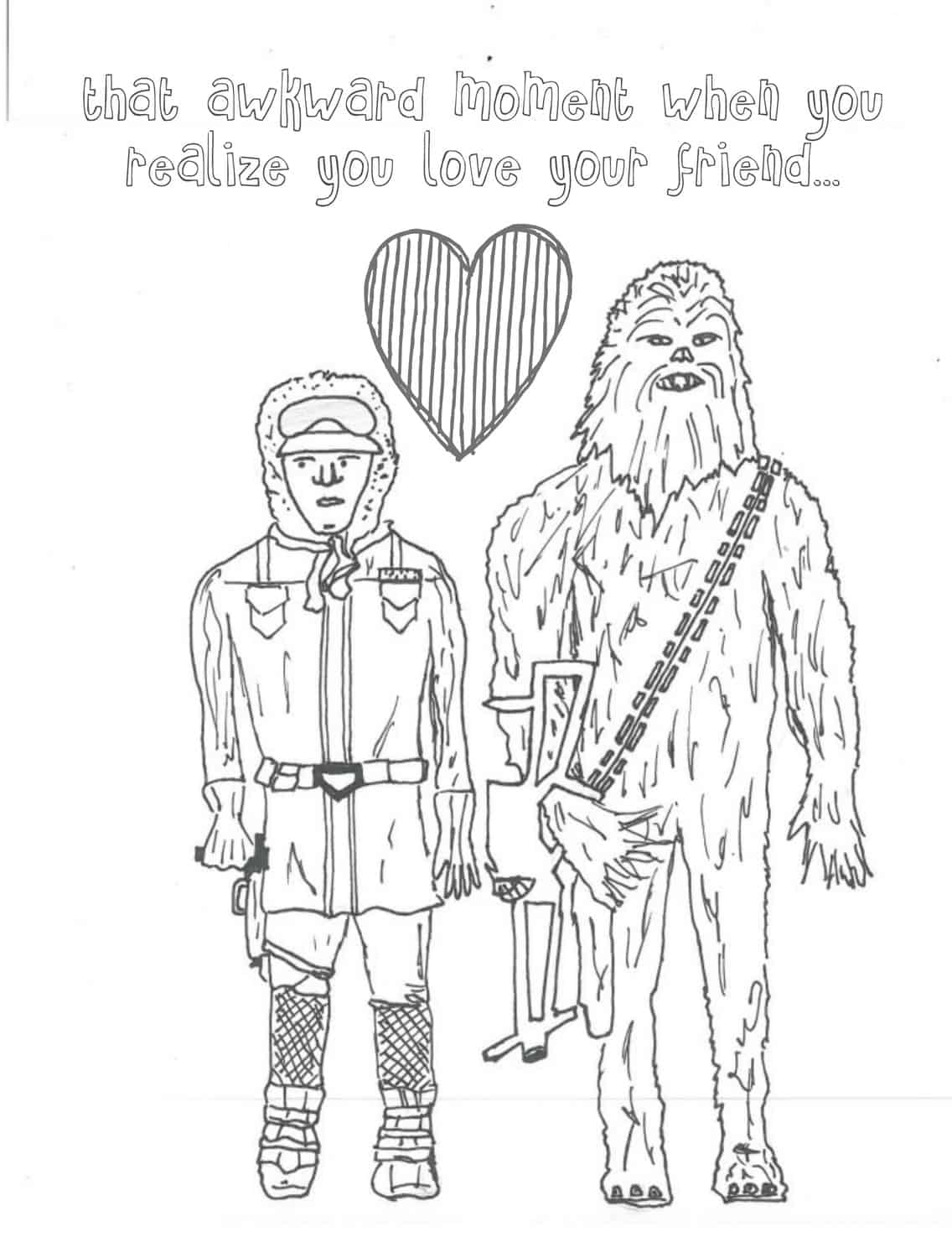 han and chewie coloring page for adults