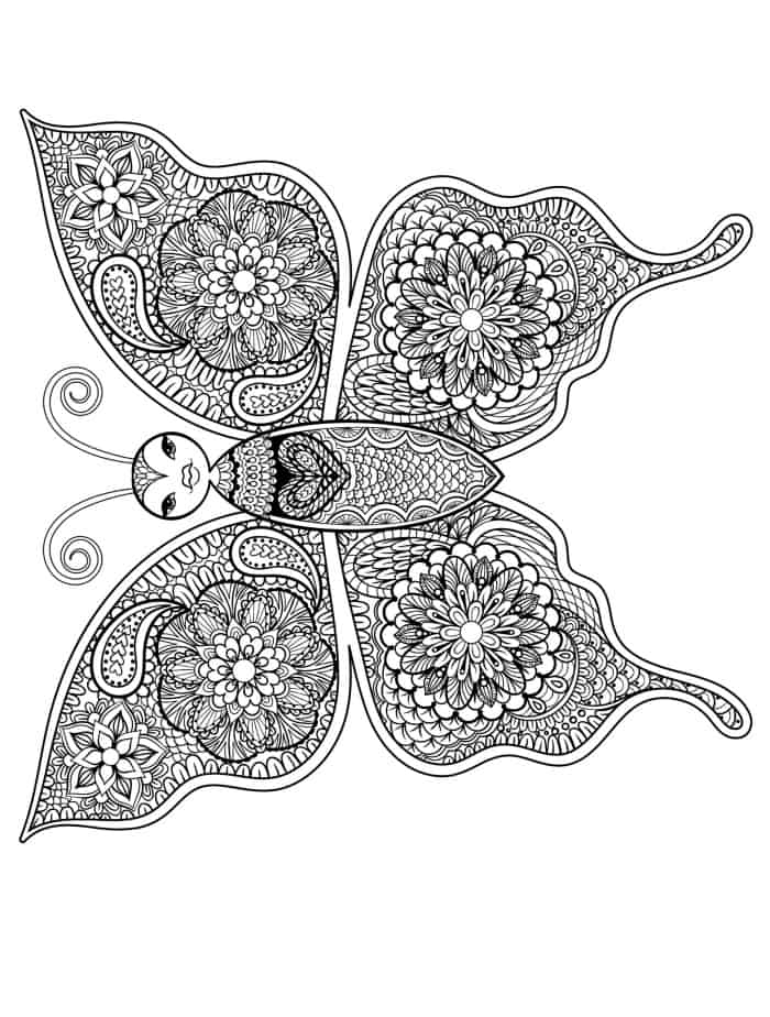 Free Coloring Pages Adults Animals : Free printable insect animal adult coloring pages