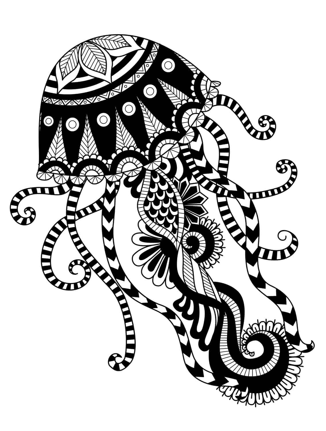 jellyfish coloring pages for adults pic - Fish Coloring Pages For Adults