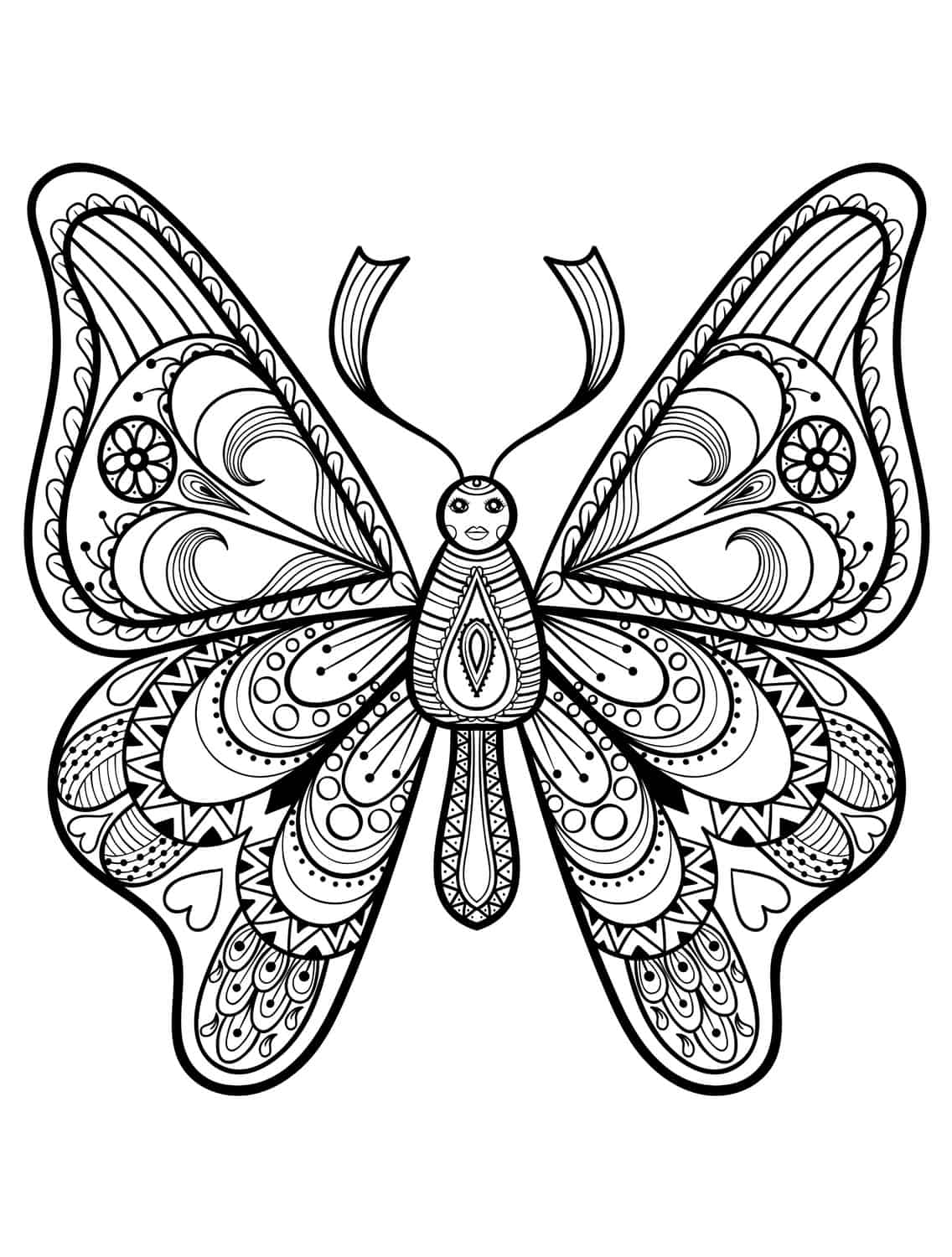 23 free printable insect animal adult coloring pages for Coloring pages of butterflies for adults