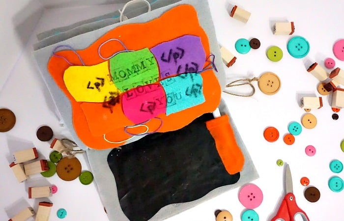quiet book puzzle and chalkboard