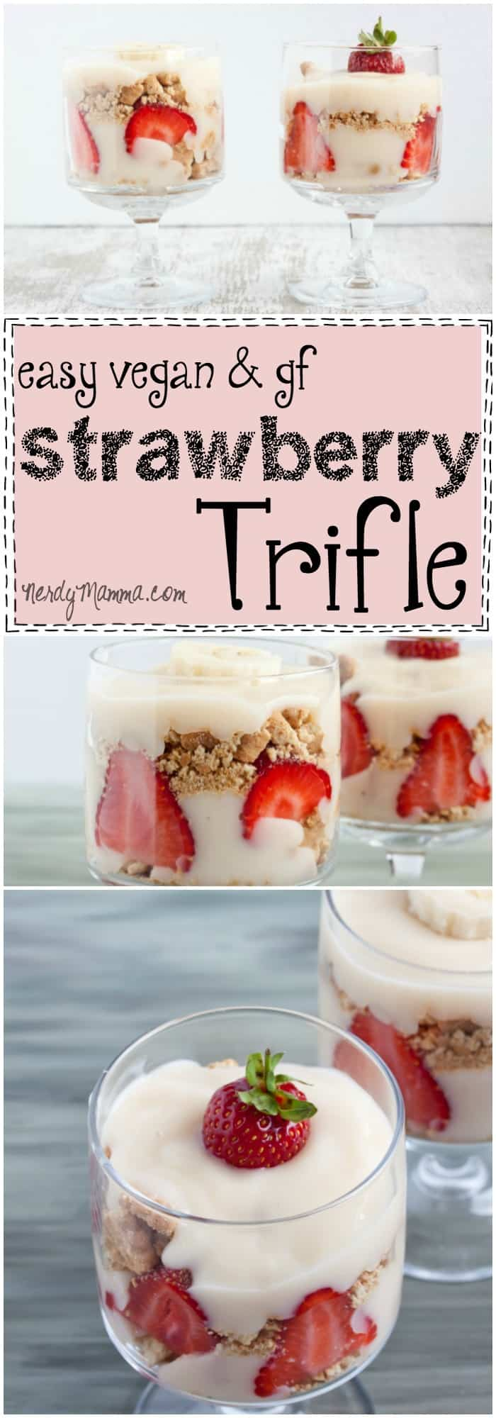 I cannot wait to make this easy gluten-free and vegan strawberry trifle. I mean YUM!