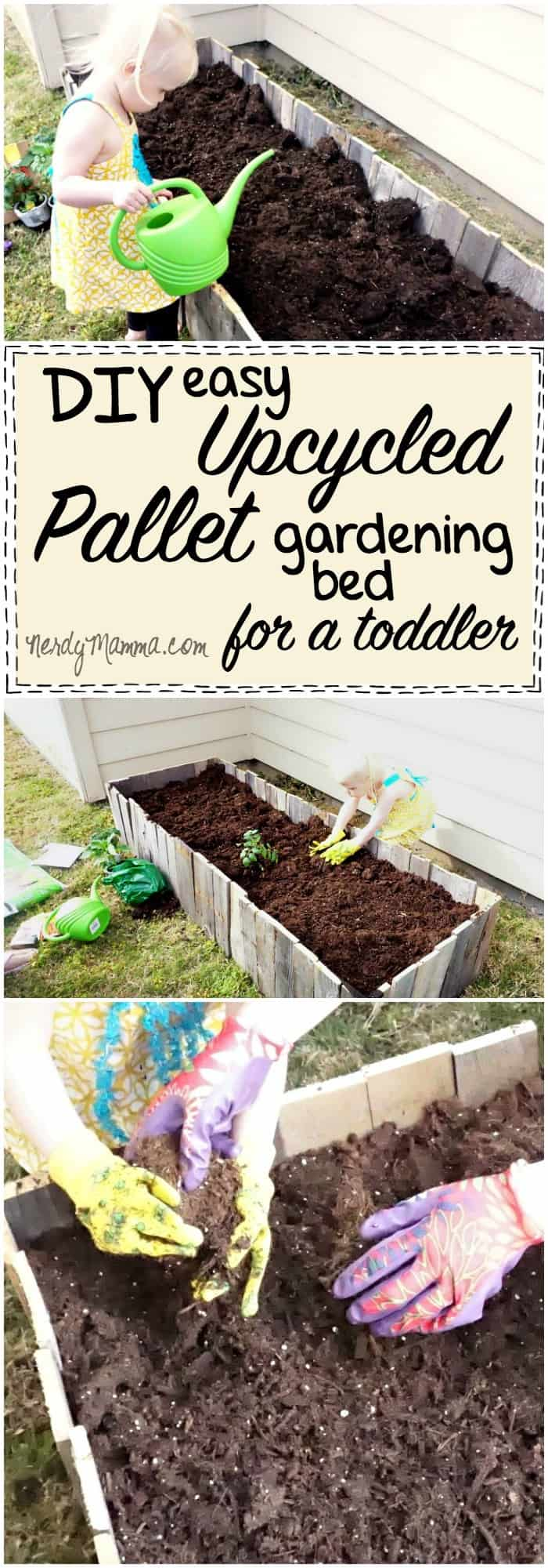 I love this idea for an easy upcycled pallet gardening bed. My kiddo would think this is just too cool!