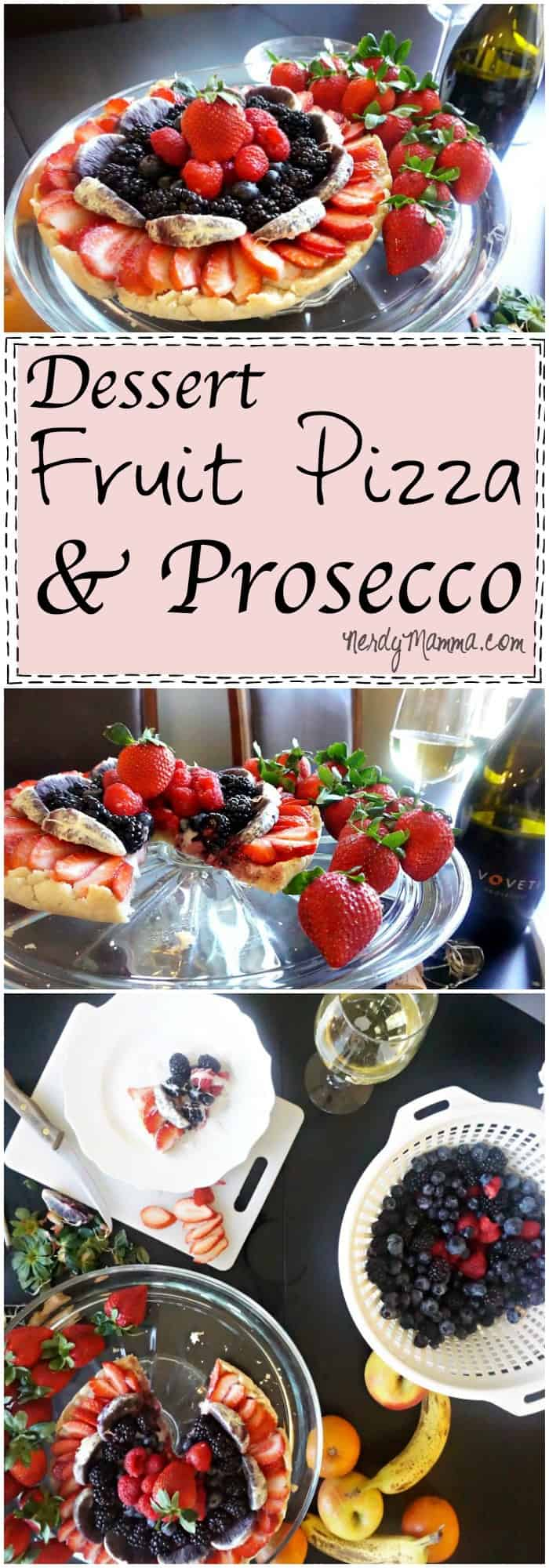 I love this pairing of fruit pizza and prosecco. Such a wonderful after-dinner treat.