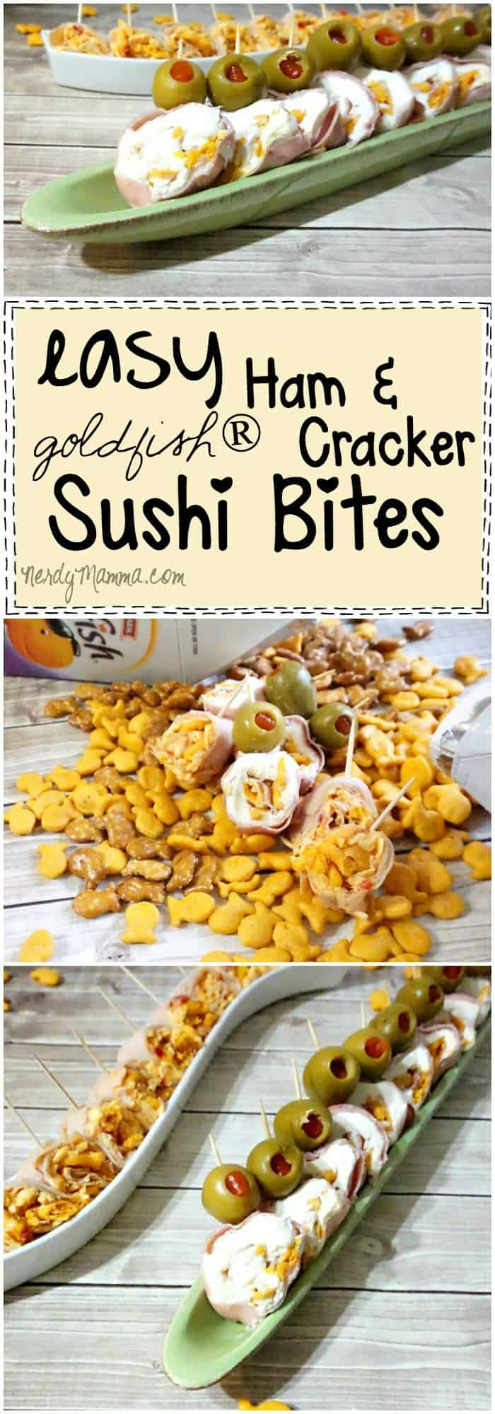 I love this recipe for Easy Ham and Goldfish® Cracker Sushi Bites...so cute! And the kids will just love 'em. I know I do.