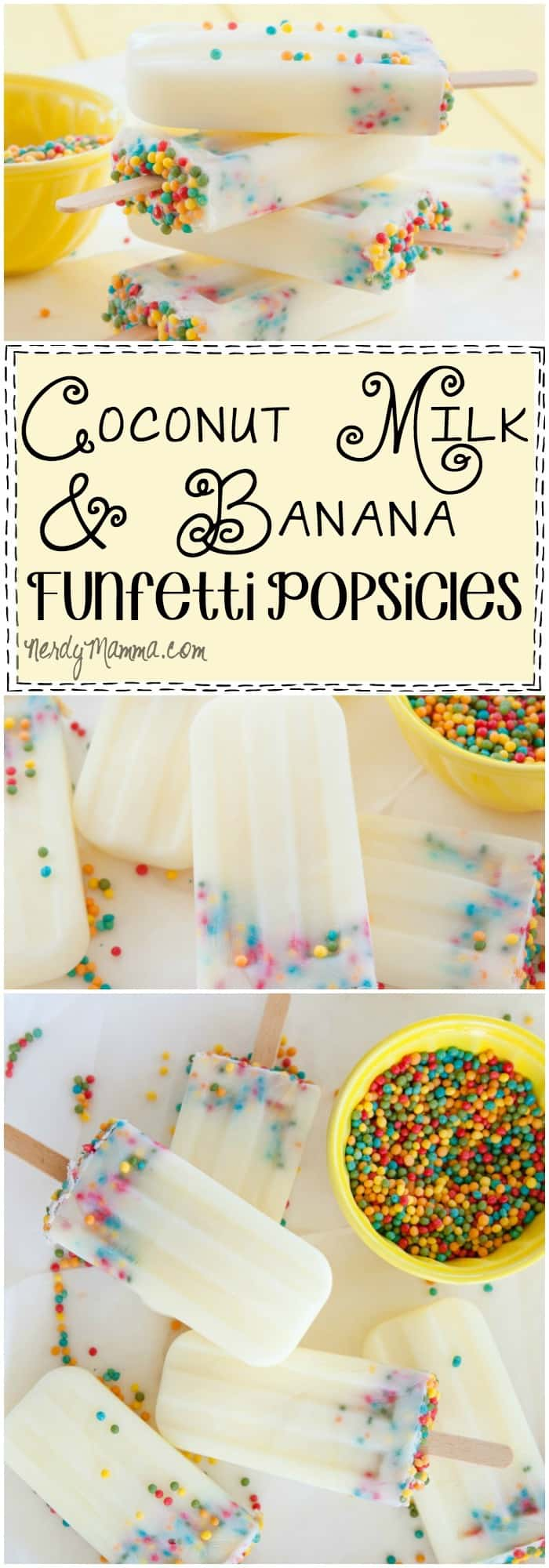 I love this recipe for coconut milk and banana funfetti popsicles. They look so yummy--and the directions are so easy. I can't wait for summer to try these!