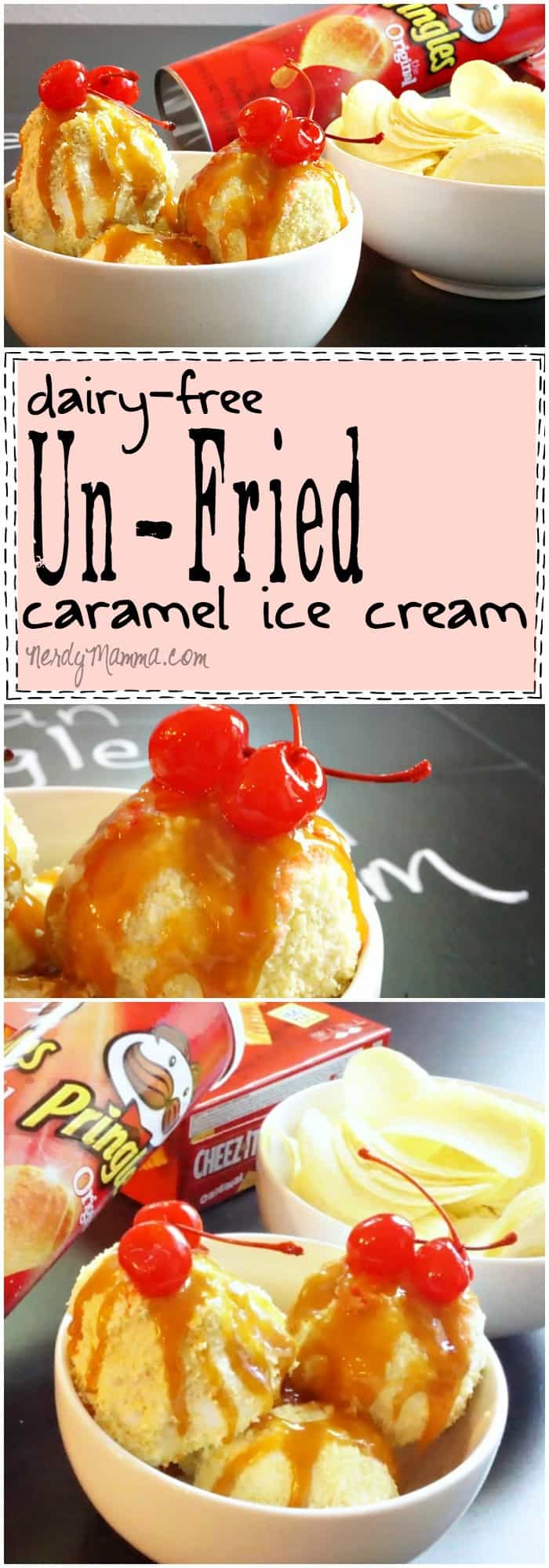 I love this recipe for dairy-free Un-Fried caramel ice cream. I mean, I didn't know you could make fried ice cream so easily! And it's vegan. I just love it!