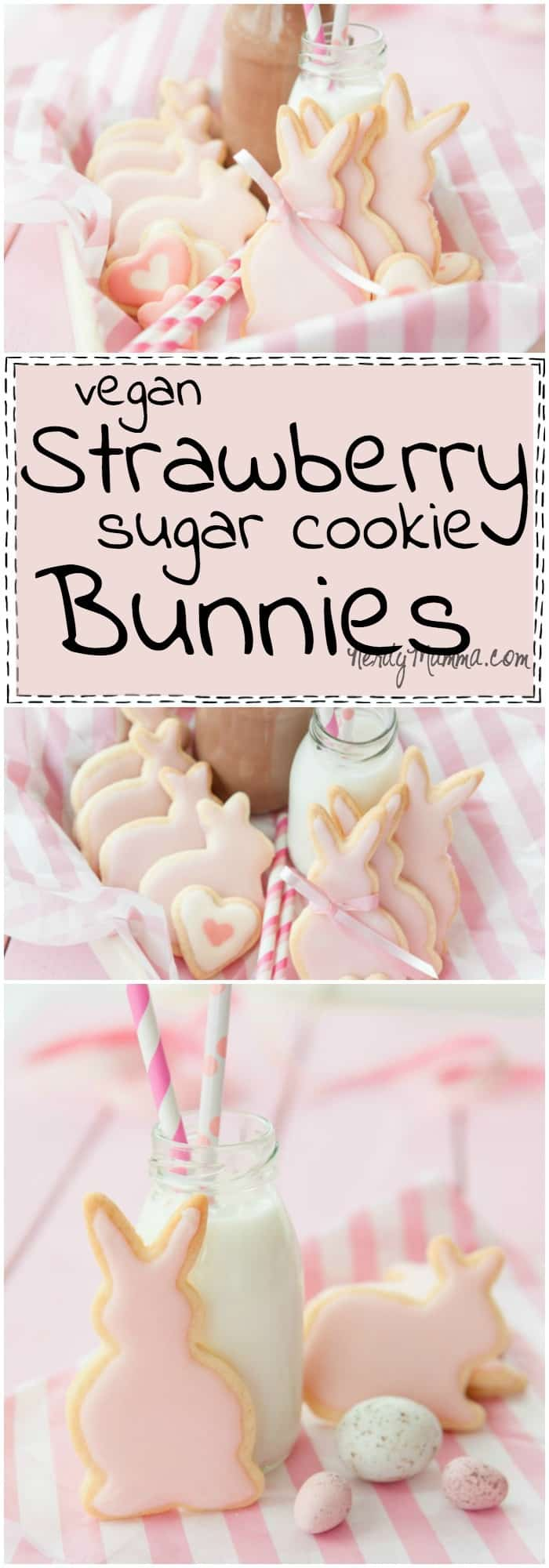 I love this recipe for strawberry sugar cookies. Not only are they shaped like bunnies, which is cute, but they sound awesome, too...