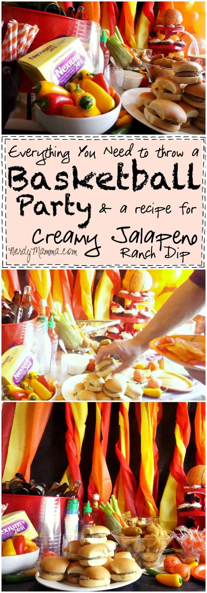 Need to throw a Basketball Party Don't worry--this tutorial has you covered! Everything You Need to Throw a Basketball Party--and a recipe for Creamy Jalapeno Ranch Dip. Mmmm...