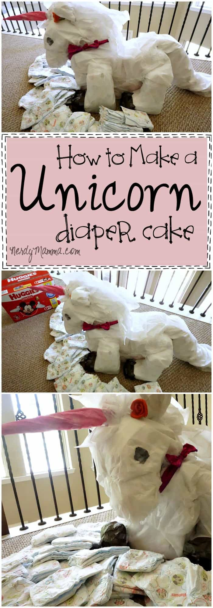This Unicorn Diaper Cake tutorial is so cute! I love the idea...can't wait for a baby shower to make one! LOL!