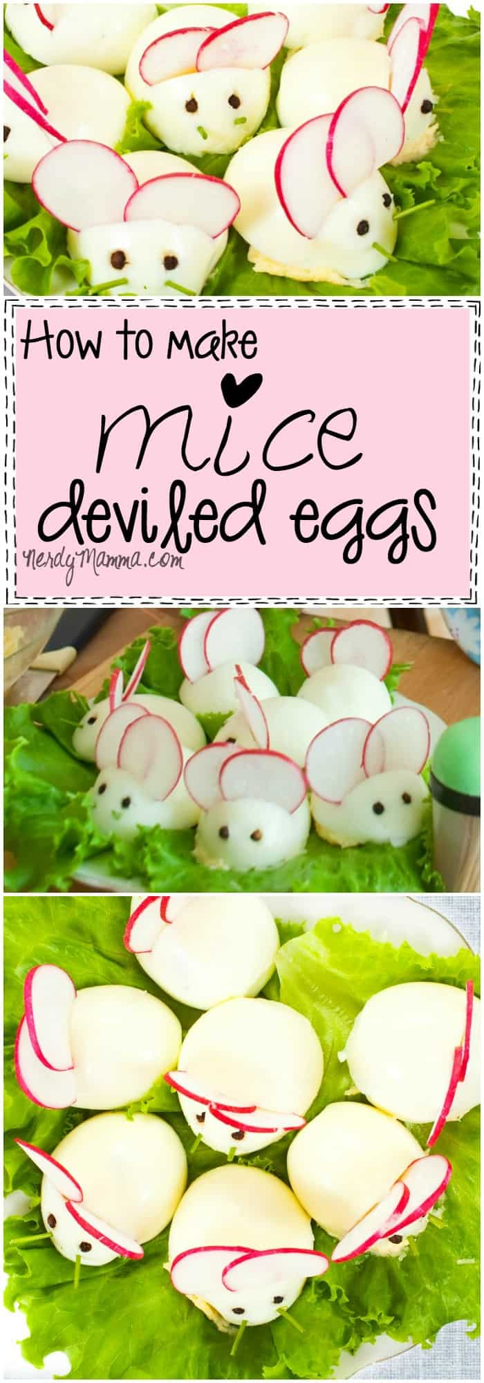 This easy tutorial for mice deviled eggs is so cute! Perfect for Easter...or Halloween...not sure which. LOL!
