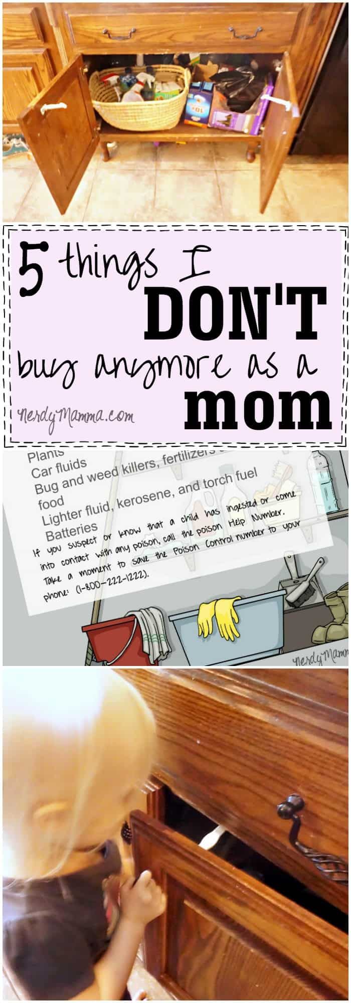 This list of 5 things this mom doesn't buy anymore...and her free printable list of poison products in the home...brilliant. And super helpful.