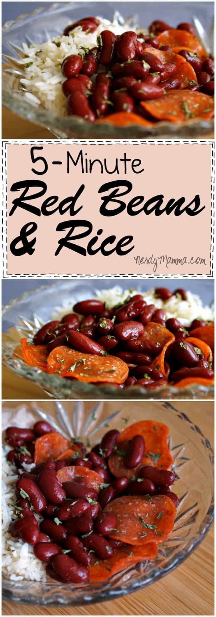 This recipe for 5-Minute Red Beans and Rice is so FAST. Love it!