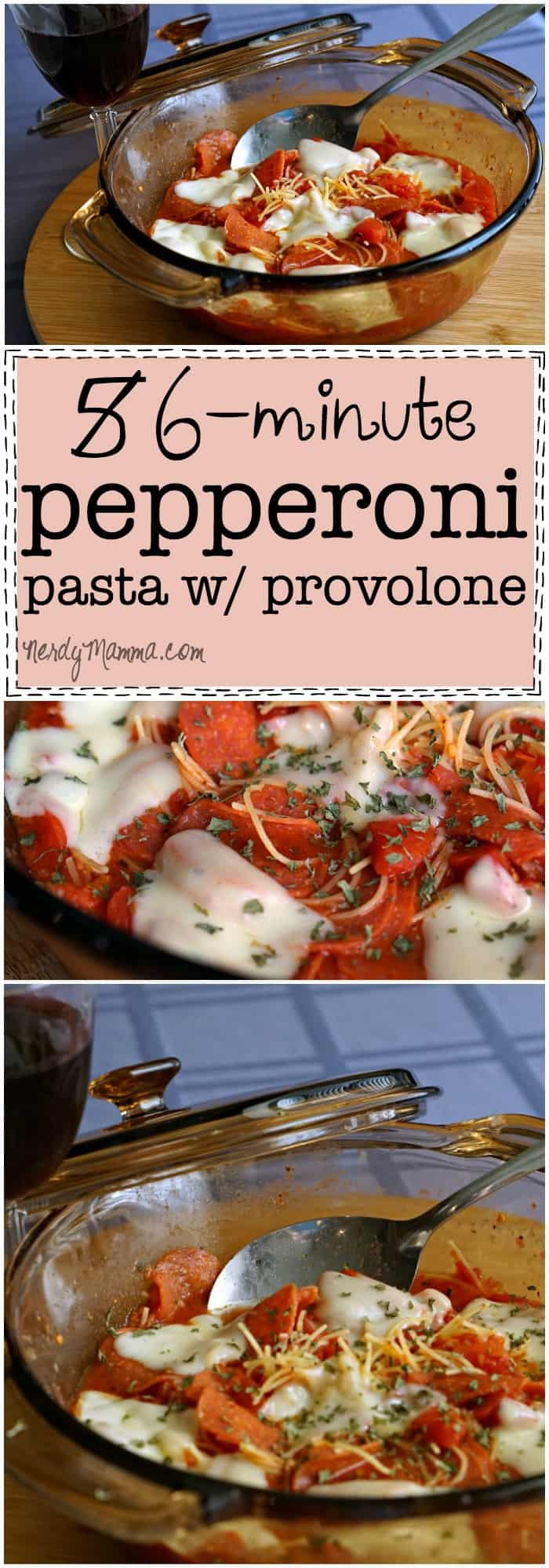 This recipe for 6-minute pepperoni pasta with provolone is so yummy-sounding. And in only 6 minutes! Love it.