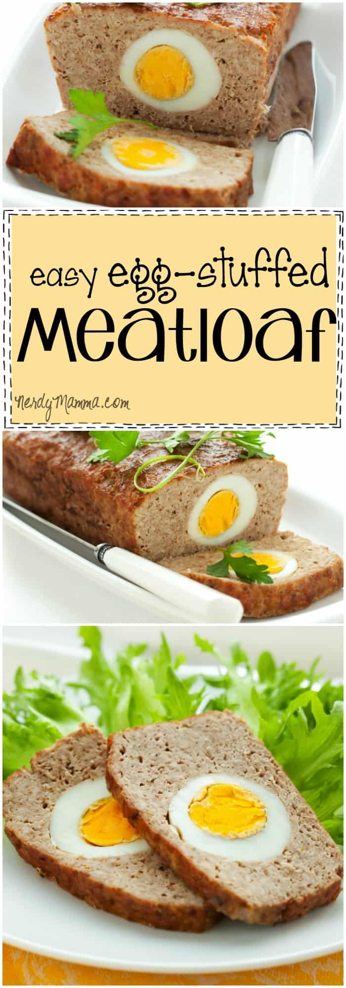This recipe for egg-stuffed meatloaf is kinda crazy. But really cool--what an awesome twist on the typical meatloaf recipe! I love it!
