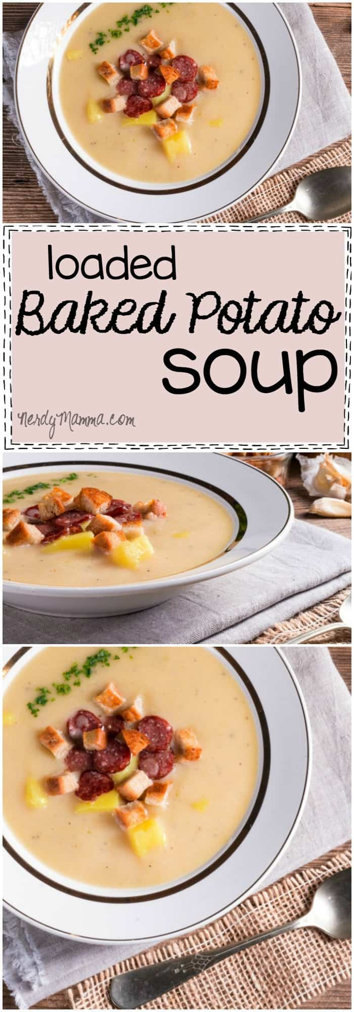 This recipe for loaded baked potato soup sounds so delicious. I think I need to make it...I'm definitely pinning it! LOL!