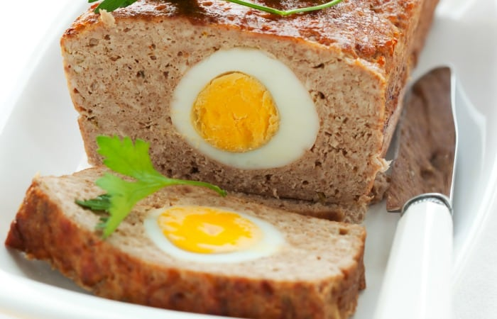easy stuffed egg meatloaf recipe feature