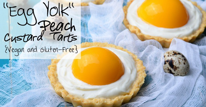 easy vegan custard tarts with peaches to look like eggs