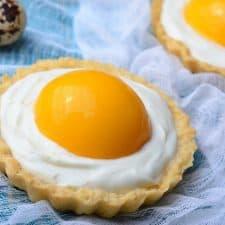 """Egg Yolk"" Peach Custard Tarts {Vegan and Gluten-Free}"