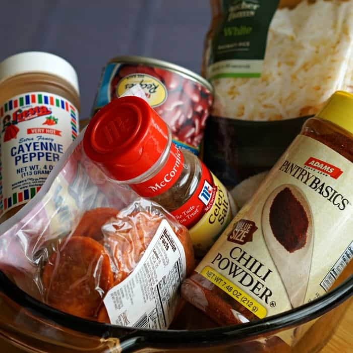 ingredients to make red beans & rice