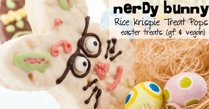 nerdy bunny rice krispie treat pops easter treats (gf & vegan) fb