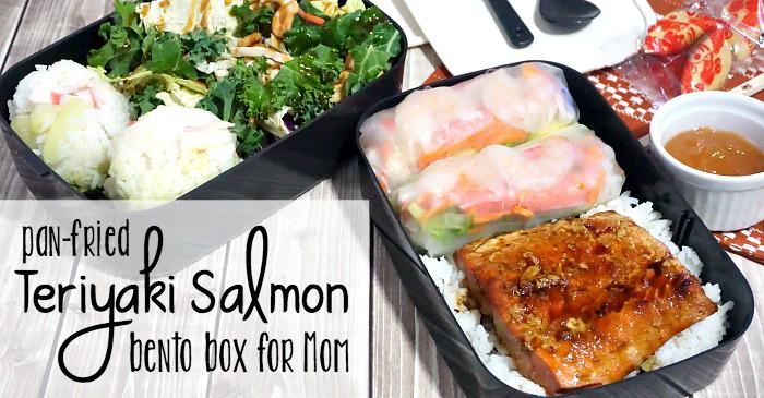 pan-fried teriyaki salmon bento box for mom fb