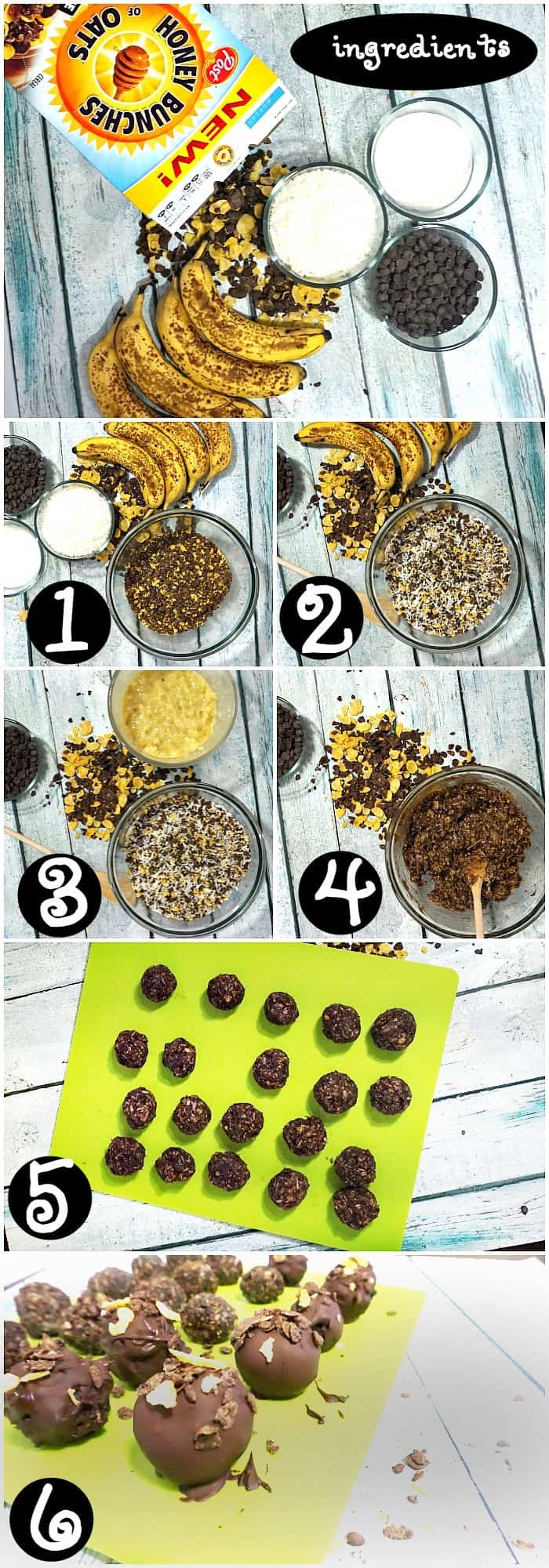 tutorial for making chocolate breakfast balls with coconut and banana