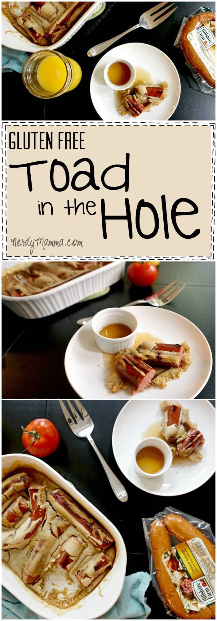 I absolutely love this recipe for gluten-free toad in the hole...i mean, it's basically just sausage and [pancake baked...but what a great idea!