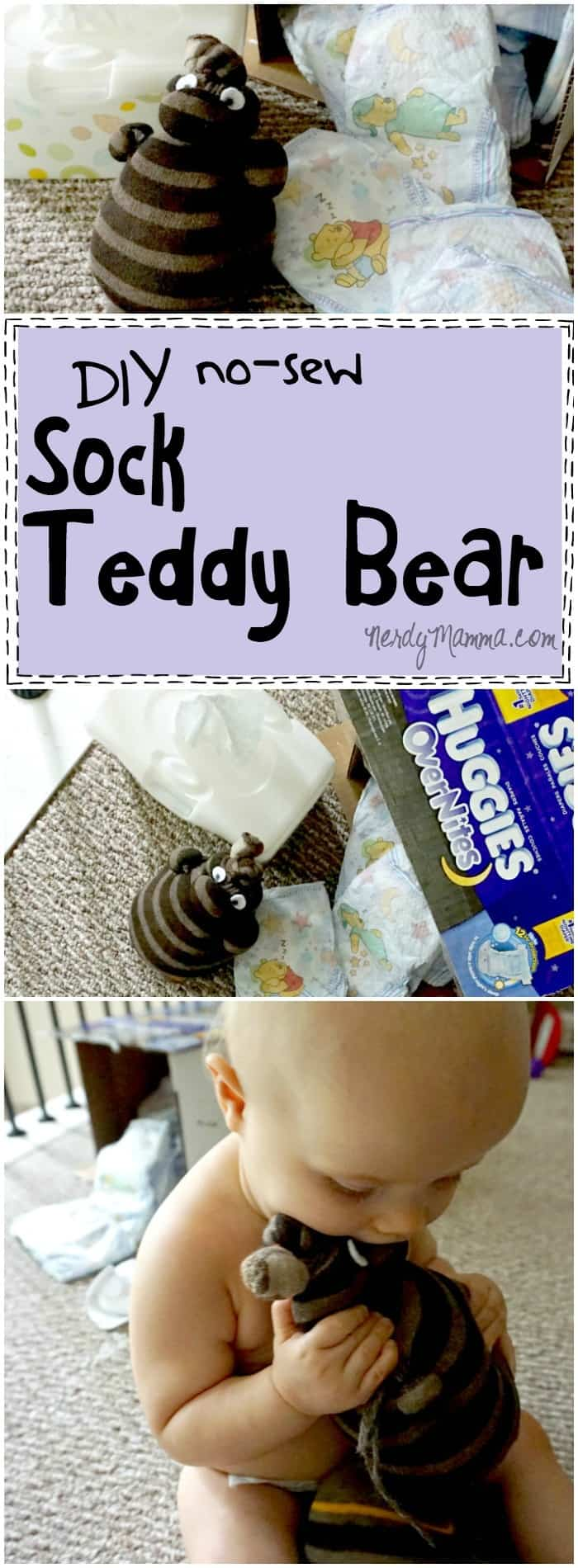 I love this quick tutorial for a DIY No-Sew Sock Teddy Bear--what a great upcyle project (and cute for a toddler!).
