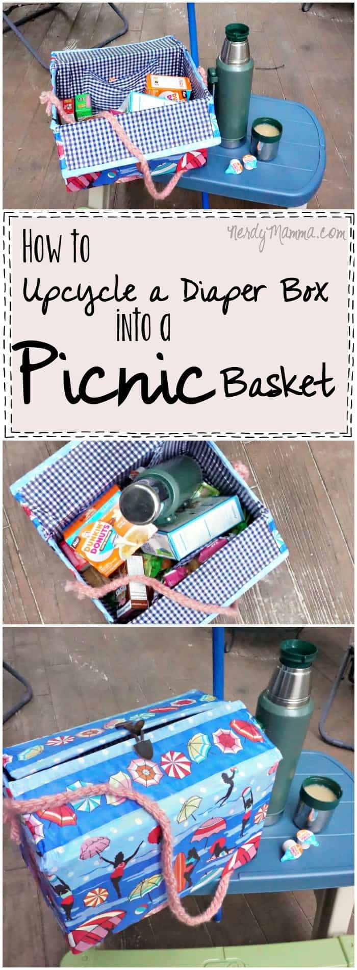 I love this quick tutorial on how to turn a diaper box into a picnic basket! So easy...and just what I need to cart lunches around this summer!
