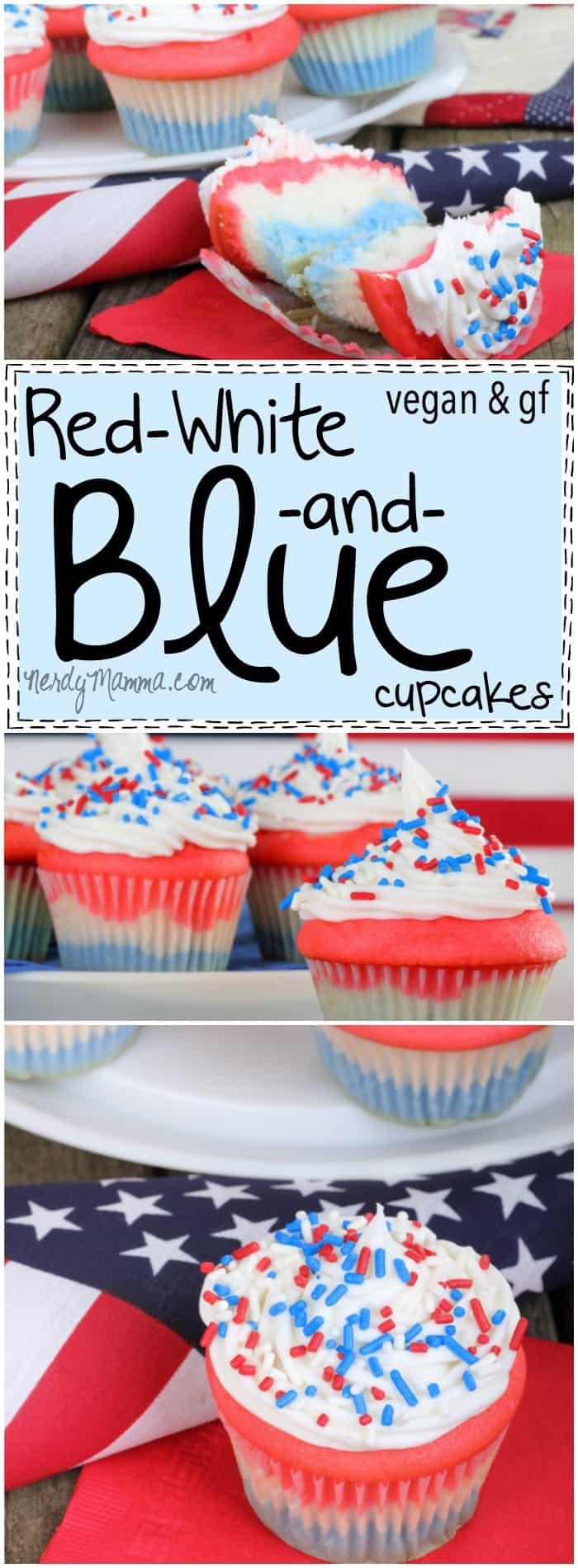 I love this recipe for these vegan AND gluten-free red-white-and-blue cupcakes! How festive...and fun!