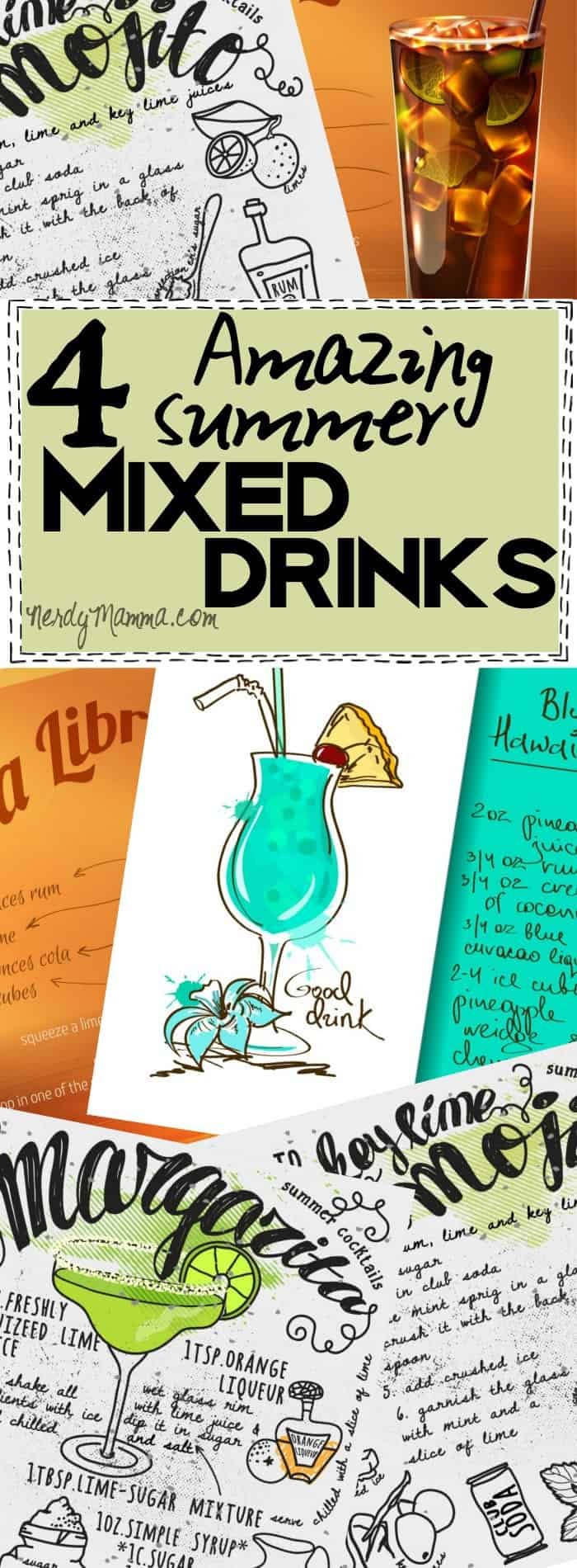 I love this 4 easy summer mixed drink recipes--so easy, fast, and PERFECT for a summer party!