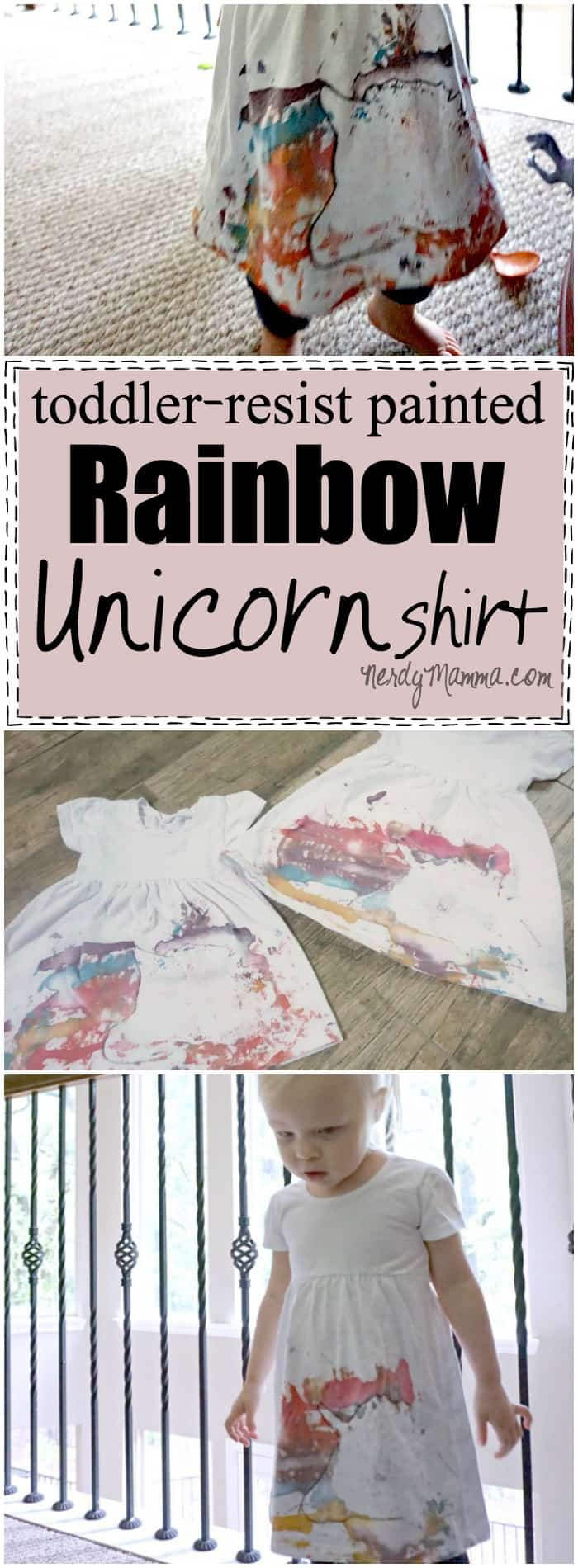 This idea for a toddler-resist painted rainbow unicorn shirt (or rhino--LOL!) is so cute! And so much fun to make!