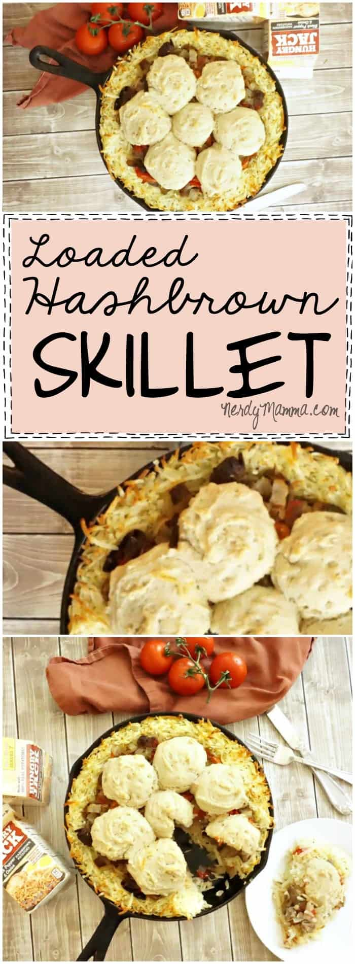 This recipe for a Loaded Hashbrown Skillet is so EASY! I love that it's a dinner recipe that uses harshbrowns...so awesome.