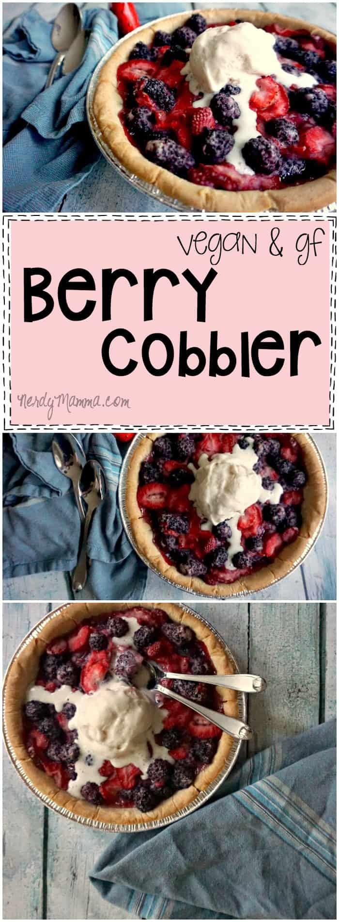 This recipe for vegan and gluten-free berry cobbler is SO EASY. I love it and can't wait to try it at my annual summer BBQ!