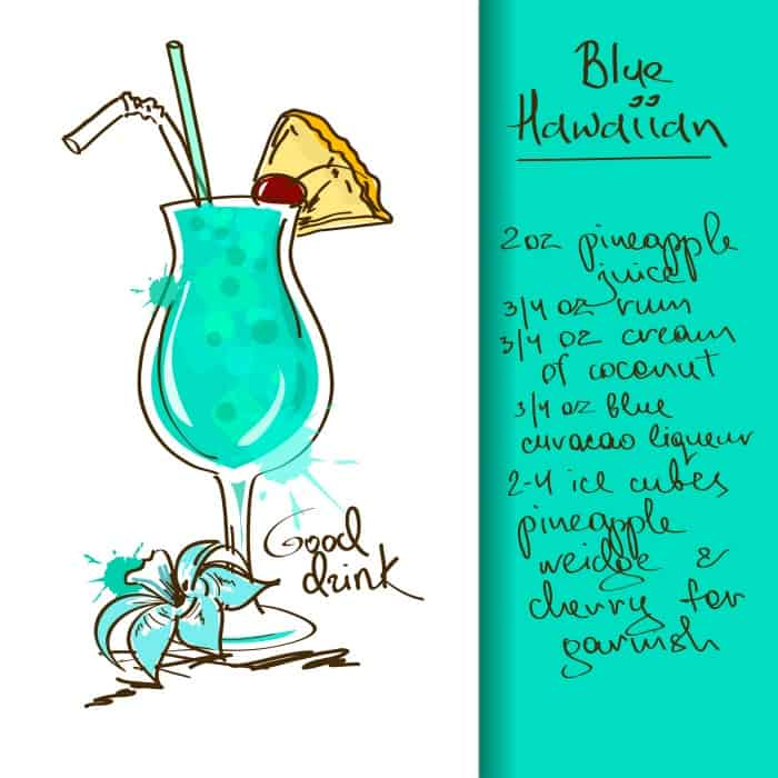 blue hawaiian summer mixed drink recipe