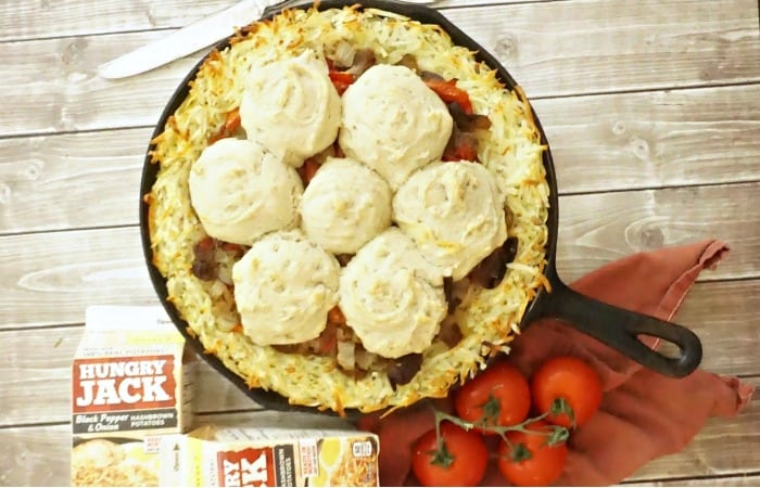 easy hashbrown skillet dinner idea feature