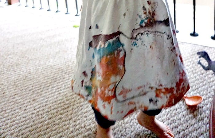 easy rainbow painted shirt for kids to make feature
