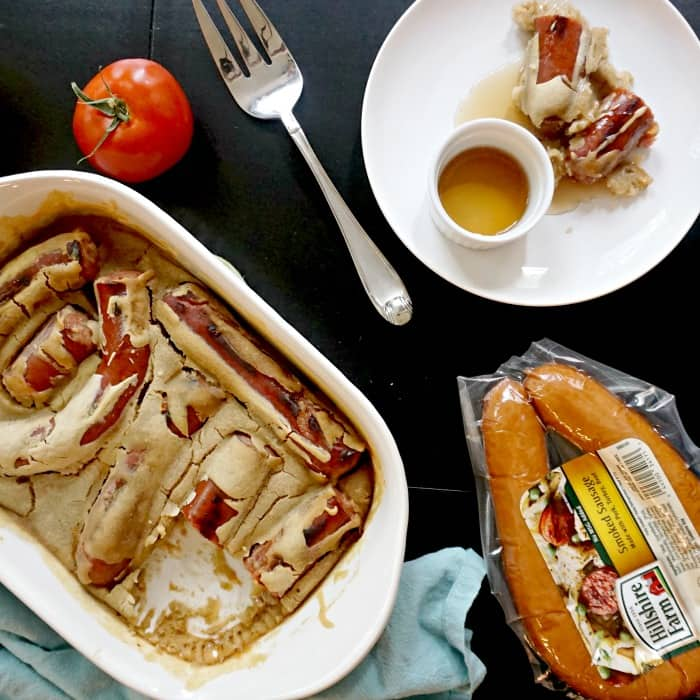 easy sausage and pancake bake for dinner sq