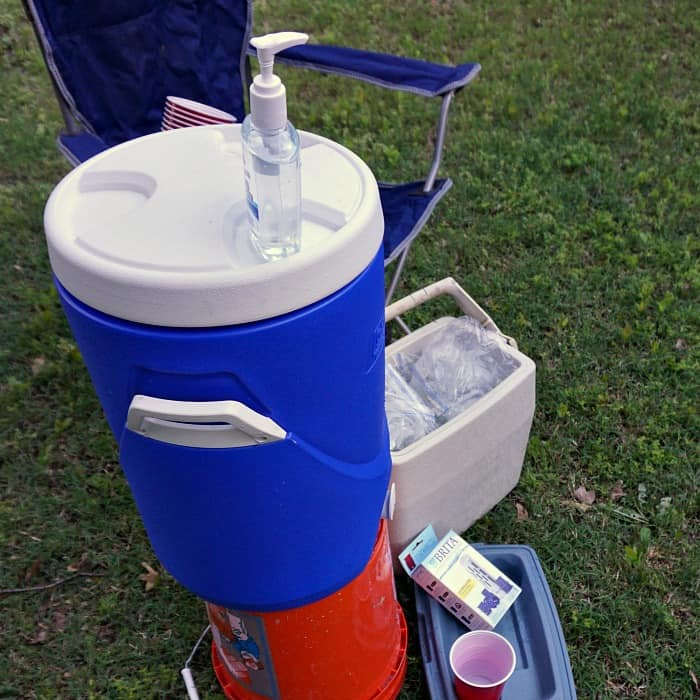 how to set up a water station for team games sq