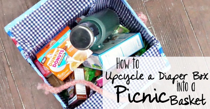 how to upcycle a diaper box into a picnic basket fb