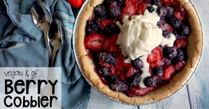 vegan and gluten-free berry cobbler  fb