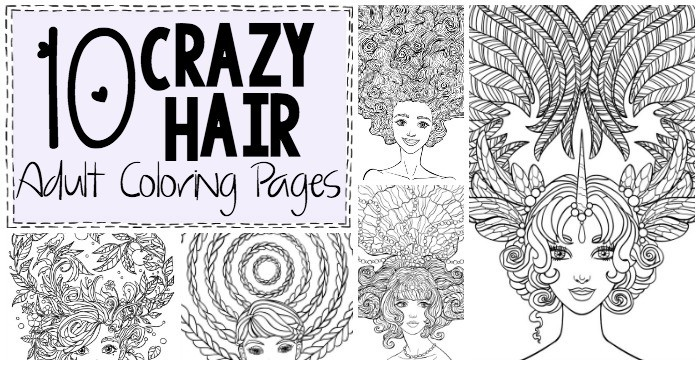 10 Crazy Hair Adult Coloring Pages - Nerdy Mamma