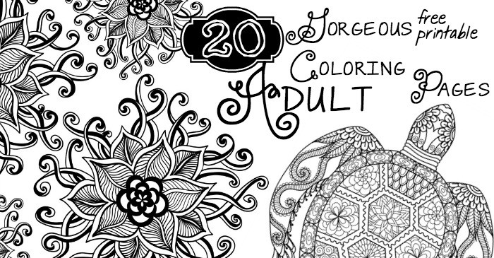 20 Gorgeous Free Printable Adult Coloring Pages - Nerdy Mamma