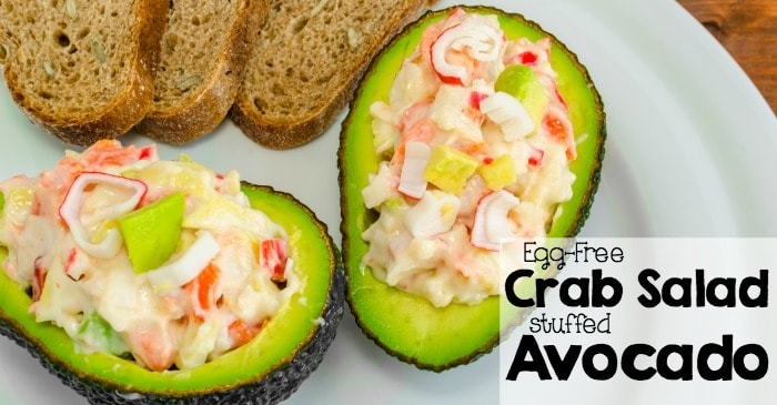 Egg-Free Crab Salad Stuffed Avocado fb
