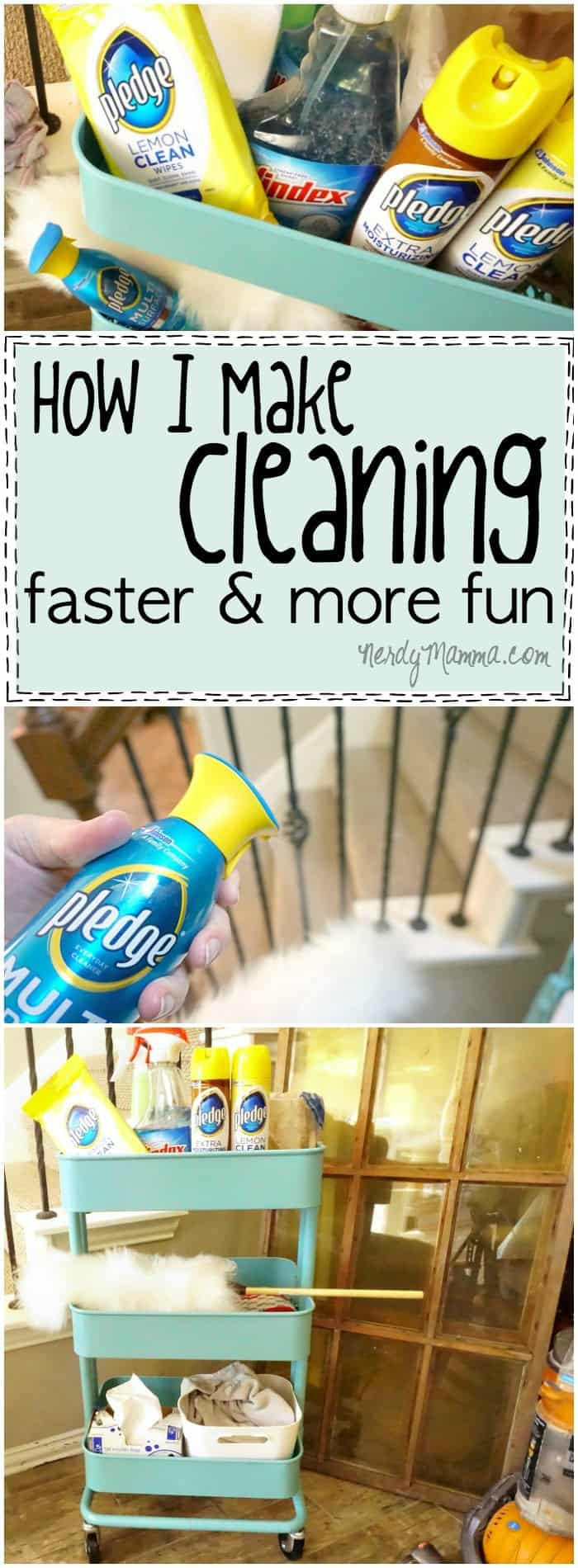 I love how she makes cleaning faster and easier--such a simple idea! And funny!