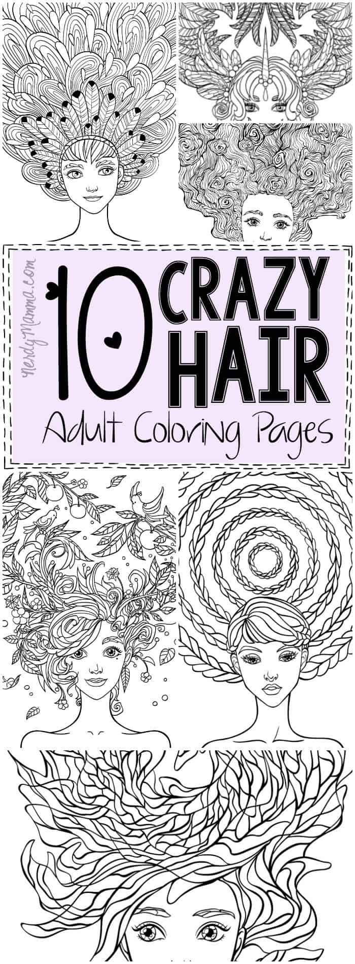 i love these 10 crazy hair adult coloring pages theyre so pretty - Hair Coloring Pages