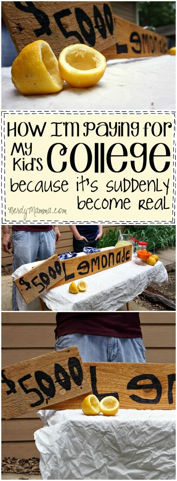 I love this mom's thoughts on how she's planning to pay for college. It does creep-up on you! LOL!